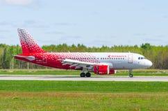 Airbus a319 Rossiya airlines, airport Pulkovo, Russia Saint-Petersburg May 2017. Stock Photo