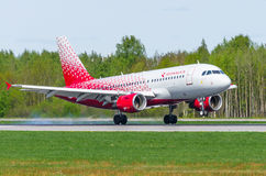 Airbus a319 Rossiya airlines, airport Pulkovo, Russia Saint-Petersburg May 2017. Royalty Free Stock Photography