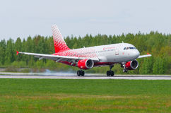 Airbus a319 Rossiya airlines, airport Pulkovo, Russia Saint-Petersburg May 2017. Royalty Free Stock Photos