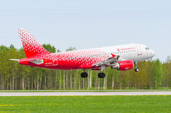 Airbus a319 Rossiya airlines, airport Pulkovo, Russia Saint-Petersburg May 2017. Stock Photos