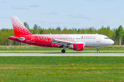 Airbus a319 Rossiya airlines, airport Pulkovo, Russia Saint-Petersburg May 2017. Royalty Free Stock Image