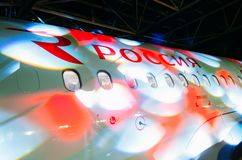 Airbus a319 Rossiya airlines, airport Pulkovo, Russia Saint-Petersburg November 23, 2017. Airbus a319 Rossiya airlines, airport Pulkovo, Russia Saint-Petersburg Royalty Free Stock Photos
