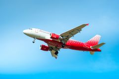 Airbus A319-100 of Rossiya - Russian Airlines. Board number VQ-BAT. ST. PETERSBURG, RUSSIA - MAY 08, 2018: Airbus A319-100 of Rossiya - Russian Airlines. Board Stock Photography