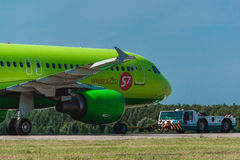 Airbus A 320 S7 Airlines at airport apron Royalty Free Stock Photo