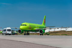 Airbus A 320 S7 Airlines at airport apron Royalty Free Stock Image
