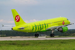 Airbus A319 S7 Airlines at apron. Of Moscow Airport Domodedovo Stock Images