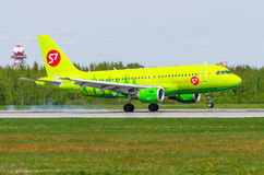 Airbus a319 S7, airport Pulkovo, Russia Saint-Petersburg May 2017. Royalty Free Stock Photos