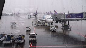 Airbus 320 on service in Suvarnabhumi airport stock video