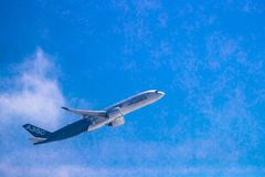 Airbus A350 shows demonstration flight at Airshow China 2016 Royalty Free Stock Images