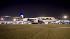 Airbus 380 Singapore Airlines arrive dans l'Inde Photos libres de droits