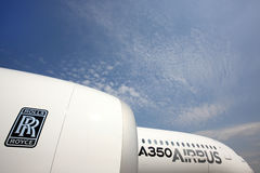 Airbus A350 standing at Sheremetyevo international airport. SHEREMETYEVO, MOSCOW REGION, RUSSIA - JUNE 3, 2014: Airbus A350 standing at Sheremetyevo Stock Image