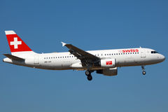 Airbus suisse A320 Photo libre de droits