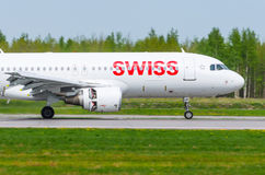 Airbus a320 Swiss airlines, airport Pulkovo, Russia Saint-Petersburg May 2017. Royalty Free Stock Photo