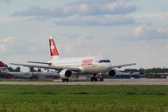 Airbus A320 Swiss Airlines taxis at the Moscow airport Domodedovo Royalty Free Stock Images