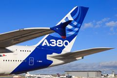 Airbus A380. Tail and wingtip of Airbus A380, the largest passenger jet in the world Stock Images