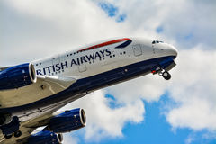 An Airbus A380 is taking off. British Airways is taking off from Heathrow Airport. This is for aviation lovers Royalty Free Stock Photos
