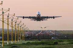 Airbus A380 taking off at dawn. Stock Photography