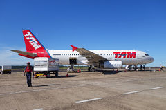Airbus 320  from TAM Airlines at Iguazu airport, Brazil Royalty Free Stock Photo