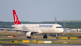 Airbus A321 taxiing. FRANKFURT AM MAIN, GERMANY - JULY 18, 2017: Turkish Airlines Airbus A321 taxiing to runway 18 before departure. Fraport stock video