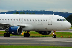 Airbus taxiing at Manchester Airport. Airbus taxxing out of Manchester Airport Stock Photo