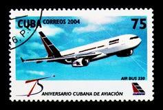 Airbus 330, 75th aniversário do serie da linha aérea de Cubana, cerca de 2004 Imagem de Stock Royalty Free