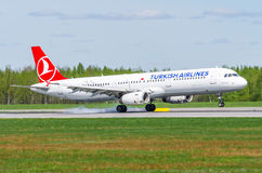 Airbus a321 Turkish airlines, airport Pulkovo, Russia Saint-Petersburg May 2017. Royalty Free Stock Image