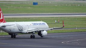Airbus A320 of Turkish Airlines taxiing to runway stock video footage