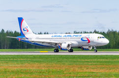 Airbus a319 Ural airlines, airport Pulkovo, Russia Saint-Petersburg May 2017. Stock Photos