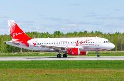 Airbus a319 Vim avia airlines, airport Pulkovo, Russia Saint-Petersburg May 2017. Royalty Free Stock Photo