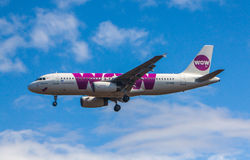 Airbus A320. From Wow air approaches KEF Airport in Iceland stock image