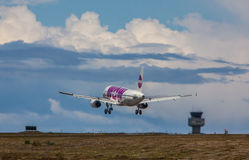 Airbus A320. From Wow air approaches KEF Airport in Iceland stock photography