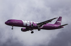 Airbus A321-211 - WOW Air. Airbus A321 from WOW Air approaches KEF Airport in Iceland stock image