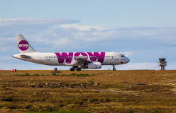 Airbus A320-232. From WOW Air at KEF Airport in Iceland stock images