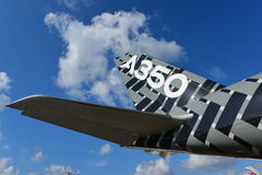 Airbus A350-900 XWB in carbon livery on display at Singapore Airshow Royalty Free Stock Photo