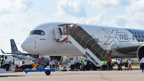 Airbus A350-900 XWB on display at Singapore Airshow Royalty Free Stock Photos