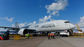 Airbus A350-900 XWB on display at Singapore Airshow Royalty Free Stock Images