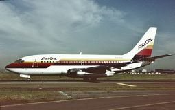 AirCal波音B-737-2Q9 CN 21720 LN 4月522 1日1987年 免版税库存照片