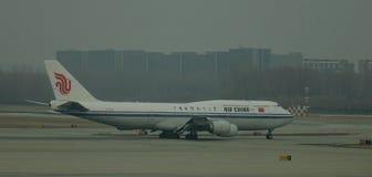 Aircarft sur l'aéroport capital de Pékin, Chine Photo libre de droits