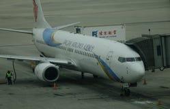 Aircarft sur l'aéroport capital de Pékin, Chine Photos libres de droits