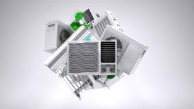 Aircon värmeapparat, klimatutrustning Arkivfoto