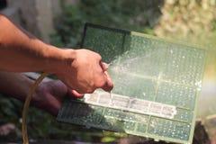 Airconditioningsfilters het schoonmaken Royalty-vrije Stock Afbeelding