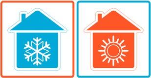 Airconditioningssymbool - verwarm en koude in huis Stock Fotografie