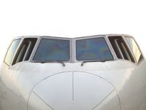 Aircraft 04. Front external view of the cockpitview of an aircraft Stock Photos