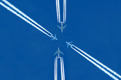Aircraft. Transport aircraft in the blue sky Stock Image