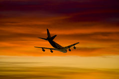 Aircraft. Rendering aircraft with dramatic sunset Royalty Free Stock Photo