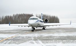 Aircraft. Plane on frozen winter airfield stock photo