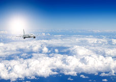 Aircraft. Several aircraftes in blue sky Royalty Free Stock Photography