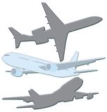 Aircraft. Illsutrations of aircraft from different views Stock Photo