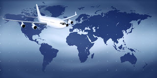 Aircraft. In the skies on the world map Royalty Free Stock Photos