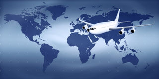 Aircraft. In the skies on the world map Stock Photos